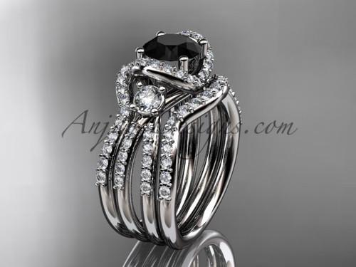Black Diamond  white gold double band wedding ring ADER146S