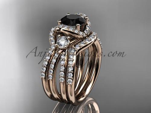 Black Diamond rose gold double band wedding ring ADER146S