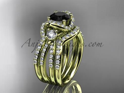 Black Diamond yellow gold double band wedding ring ADER146S