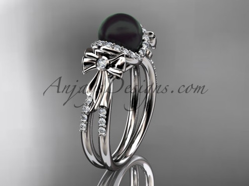 Bow Wedding Ring White gold Black Pearl Bridal Ring ABP155