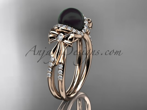 Bow Wedding Ring Rose gold Black Pearl Bridal Ring ABP155