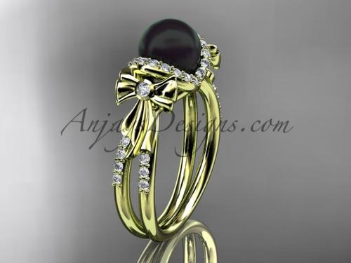 Bow Wedding Ring Yellow  gold Black Pearl Bridal Ring ABP155