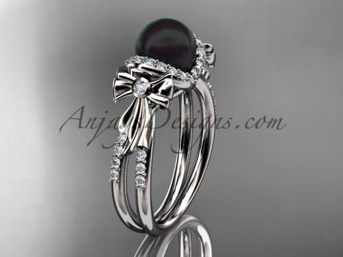Bow Wedding Ring Platinum Black Pearl Engagement Ring ABP155