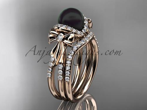 Black Pearl Bridal Set Rose gold Bow Wedding Ring ABP155S