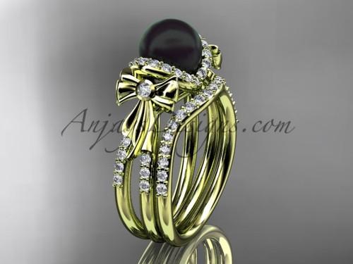 Black Pearl Bridal Set Yellow gold Bow Wedding Ring ABP155S