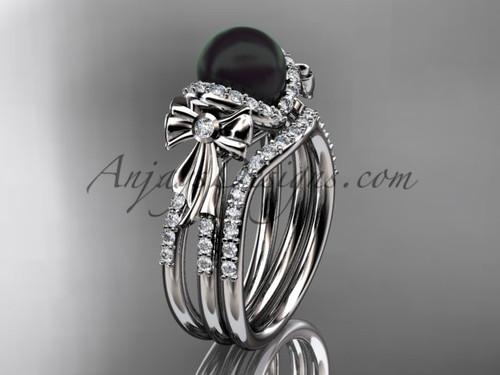 Black Pearl Bridal Set White gold Bow Wedding Ring ABP155S