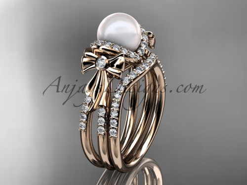 Pearl Wedding Set Rose gold Bow Engagement Ring AP155S