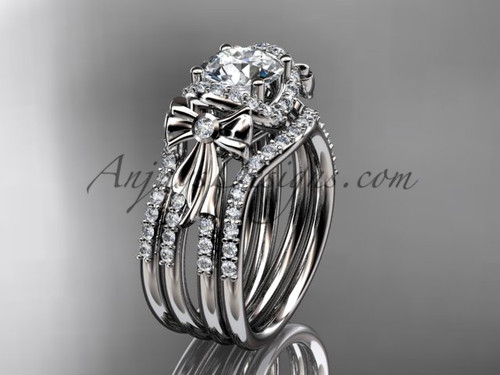 White Gold Moissanite Bow Wedding Rings Double Band ADER155S