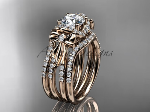 Rose Gold Moissanite Bow Wedding Rings Double Band ADER155S