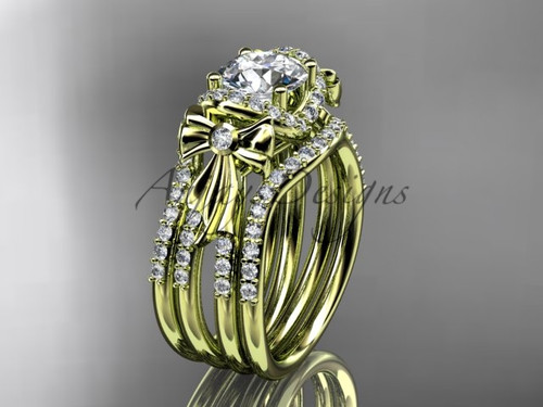 Yellow Gold Moissanite Bow Wedding Ring Double Band ADER155S