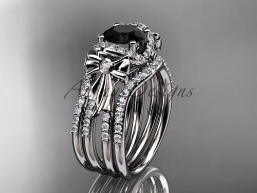 White Gold Black Bow Engagement Rings Double Band ADER155S