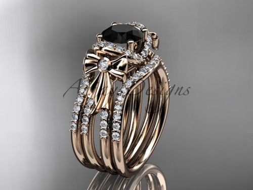 Rose Gold Black Diamond Bow Wedding Rings Double Band ADER155S