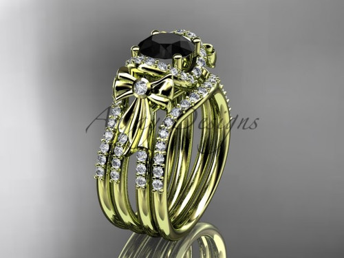 Yellow Gold Black Diamond Bow Wedding Rings Double Band ADER155S