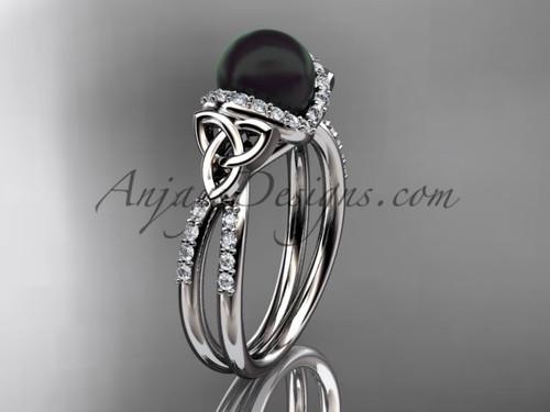 White Gold Black Pearl Celtic Wedding ring CTBP7155