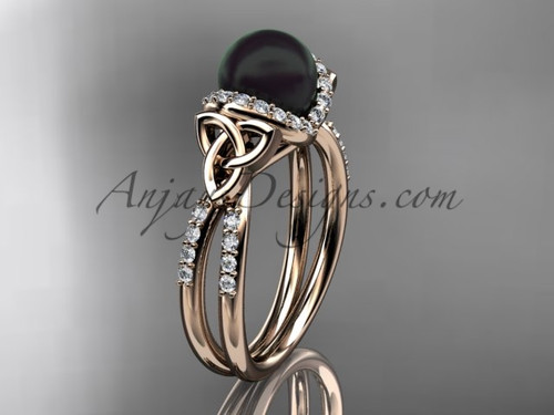 Celtic Wedding Ring Rose Gold Black Pearl Ring CTBP7155
