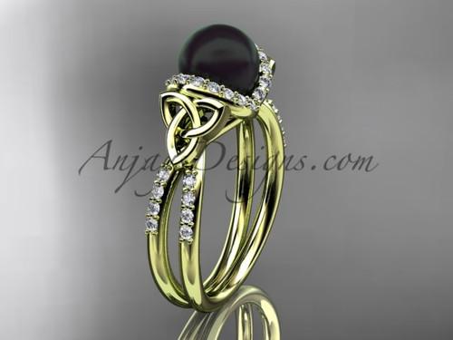 Celtic Wedding Ring Yellow Gold Black Pearl Ring CTBP7155
