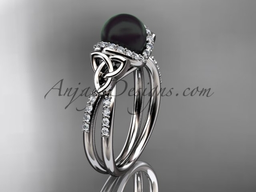 CeltCeltic Wedding Ring Platinum Black Pearl Ring CTBP7155