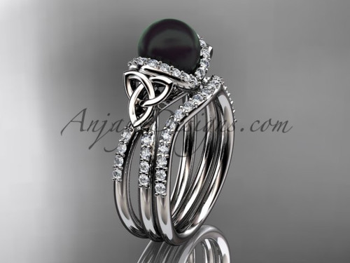 Platinum Black Pearl Celtic Wedding Ring Set CTBP7155S