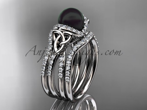 White Gold Black Pearl Celtic Double Band Ring CTBP7155S