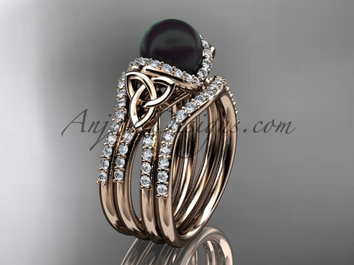 Rose Gold Black Pearl Celtic Double Band Ring CTBP7155S