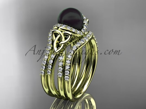 Yellow Gold Black Pearl Celtic Double Band Ring CTBP7155S