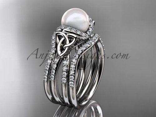 White Gold Pearl Celtic Double Band Wedding Ring CTP7155S