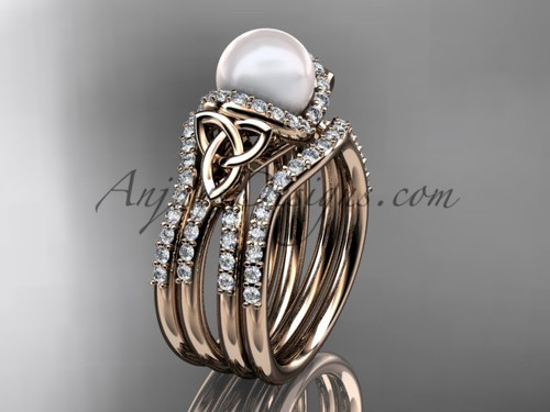 Rose Gold Pearl Celtic Double Band Wedding Ring CTP7155S
