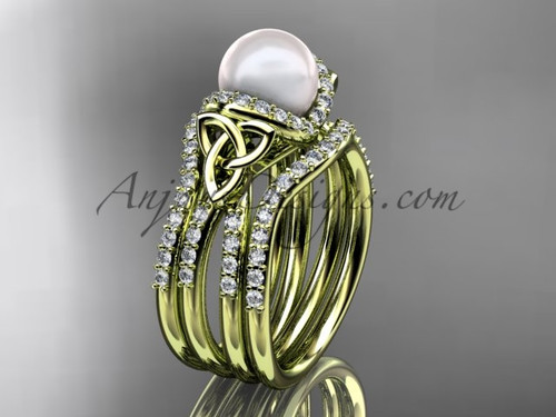 Yellow Gold Pearl Celtic Double Band Wedding Ring CTP7155S