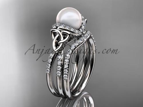 14kt white gold Pearl Celtic Wedding Set for Women CTP7155S