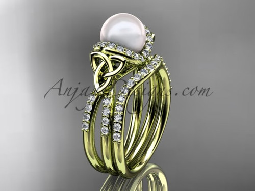 14kt yellow gold Pearl Celtic Wedding Set for Women CTP7155S