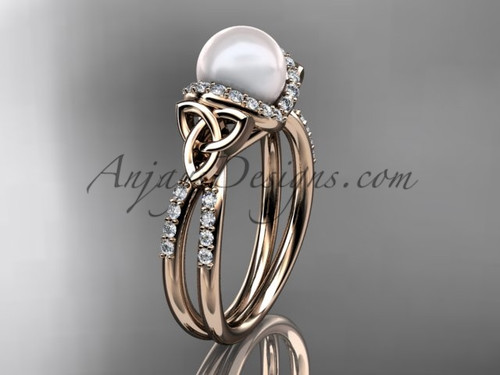 Rose Gold Pearl Celtic Wedding ring for Women CTP7155