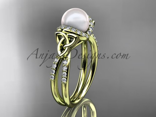 Yellow Gold Pearl Celtic Wedding ring for Women CTP7155