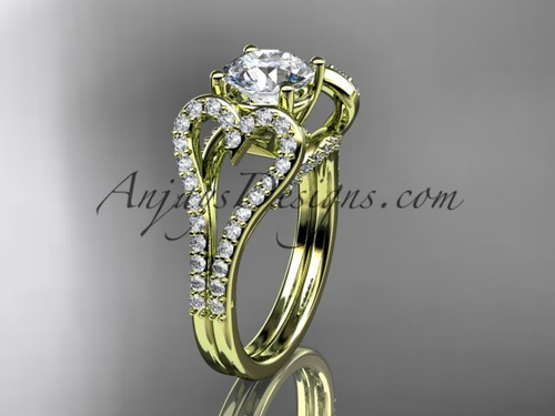 """14kt yellow gold heart  engagement ring, wedding ring with a """"Forever One"""" Moissanite center stone ADER395"""