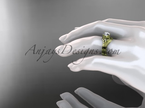 Moissanite Bridal Set 14kt Yellow Gold Celtic Trinity Knot Unusual Engagement Ring CT7240S