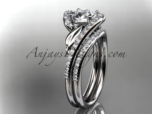 14k white gold diamond leaf and vine wedding ring, engagement set ADLR317S