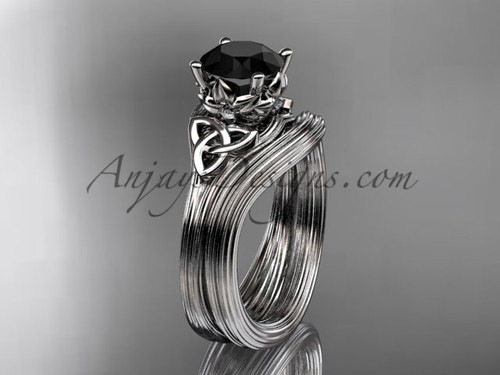 Black Diamond White Gold Women's Celtic Bridal Set CT7240S