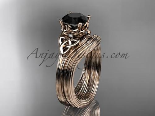 Black Diamond Rose Gold Women's Celtic Bridal Set CT7240S