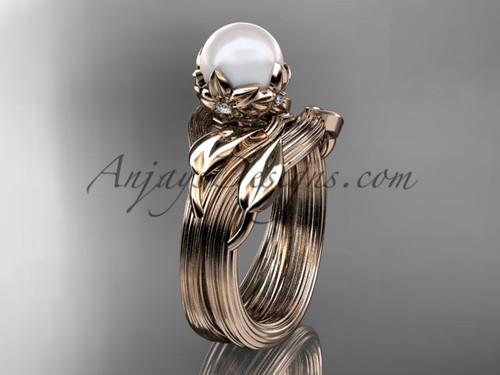 Nature Inspired Wedding Ring Rose Gold Pearl Set AP240S