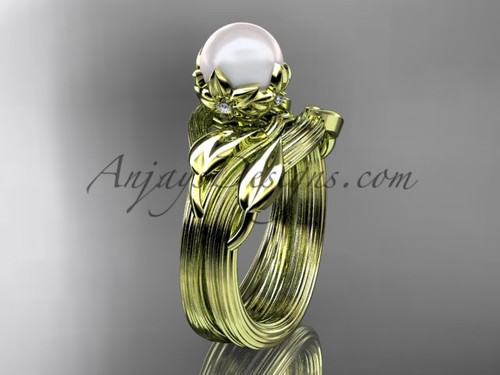 Nature Inspired Wedding Ring Yellow Gold Pearl Set AP240S
