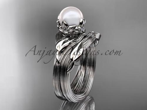 Nature Inspired Wedding Ring Platinum Pearl Set AP240S