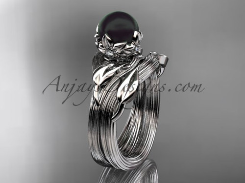 White Gold Black Pearl Nature Inspired Wedding Set ABP240S