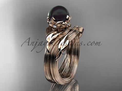 Rose Gold Black Pearl Nature Inspired Wedding Set ABP240S