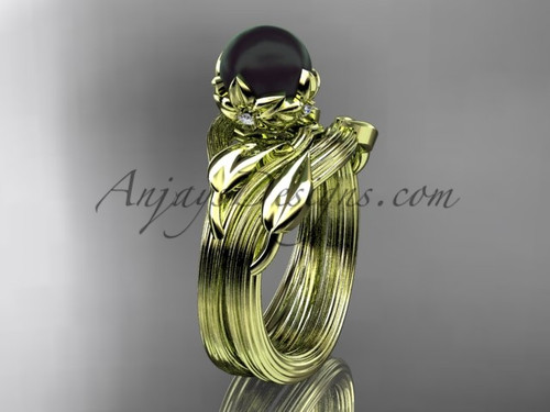 Yellow Gold Black Pearl Nature Inspired Wedding Set ABP240S