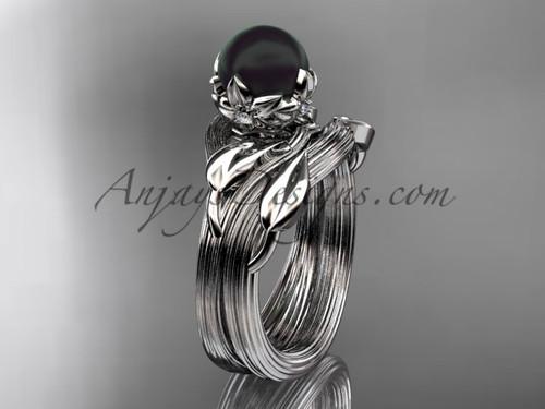 Platinum Black Pearl Nature Inspired Wedding Set ABP240S