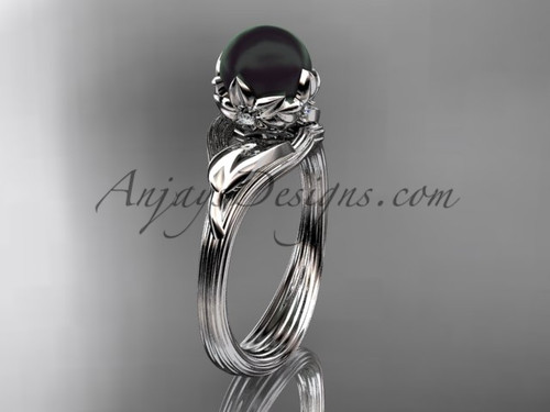 Nature Inspired Engagement Ring White Gold Black Pearl ring ABP240
