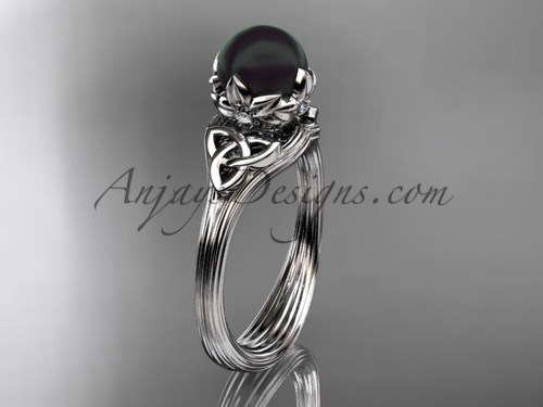 Nature Inspired Engagement Ring White Gold Black Pearl Triquetra Celtic Knot Wedding ring CTBP7240