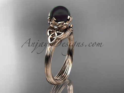 Triquetra Celtic Rose Gold Black Pearl Bridal Ring CTBP7240