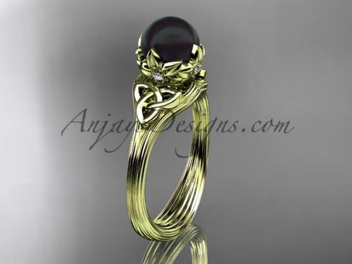 Triquetra Yellow Gold Black Pearl Bridal Ring CTBP7240