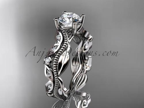 14kt white gold diamond leaf and vine wedding ring, engagement ring ADLR342