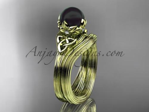 Black Pearl Celtic Yellow Gold Bridal Ring Set CTBP7240S